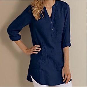 Soft Surroundings Santorini Gauze Tunic